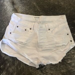 One x OneTeaspoon White Denim Shorts - 25